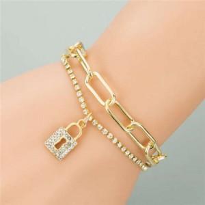 Rhinestone Embellished Lock Pendant Dual Layers Chains Graceful Fashion Bracelet