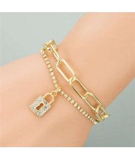 Rhinestone Embellished Lock Pendant Dual Layers Chains Graceful Fashion Bracelet
