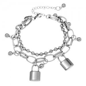 Locks Pendant Hip-hop Fashion Dual Layers Bracelet