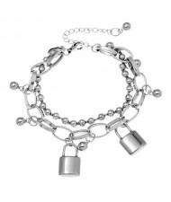 Locks Pendant Hip-hop Fashion Dual Layers Bracelet