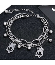 Night Owl Pendants Dual Layers Chain Hip-hop Fashion Bracelet