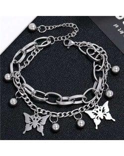 Butterfly Pendants Dual Layers Chain Hip-hop Fashion Bracelet