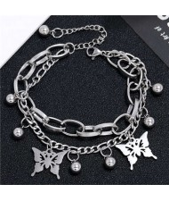 Butterfly Pendants Dual Layers Chain Hip-hop Fashion Bracelet