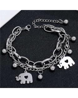 Cute Elephants Korean Style Dual Layers Chain Hip-hop Fashion Bracelet