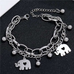 Cute Elephants Korean Style Dual Layers Chain Hip-hop Fashion Bracelet