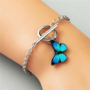 Vivid Butterfly Pendant High Fashion Friend-ship Bracelet - Blue
