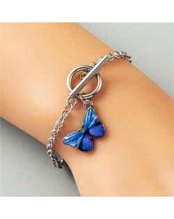 Vivid Butterfly Pendant High Fashion Friend-ship Bracelet - Royal Blue