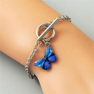 Vivid Butterfly Pendant High Fashion Friend-ship Bracelet - Royal Blue