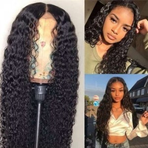 African Style Middle Side Part Water Wave Long Hair High Fashion Women Synthetic Wig