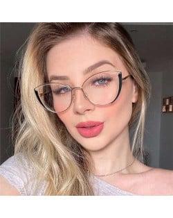 6 Colors Available Cat Eye Frame Design High Fashion Women Plain Glasses