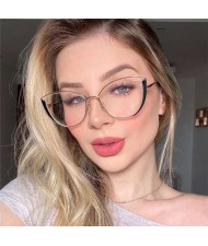 6 Colors Available Cat Eye Frame Design High Fashion Women Plain Glasses