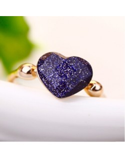 Black Peach Heart 18K Rose Gold Party Ring