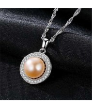 Pearl Inlaid Cubic Zirconia Embellished Round Pendant Graceful 925 Sterling Silver Women Necklace