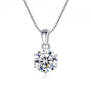 1 Carat Moissanite Inlaid Six Claws Pendant 925 Sterling Silver Women Necklace/ Wedding Necklace