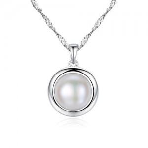 Elegant Pearl Pendant 925 Sterling Silver Women Necklace/ Bridal Necklace