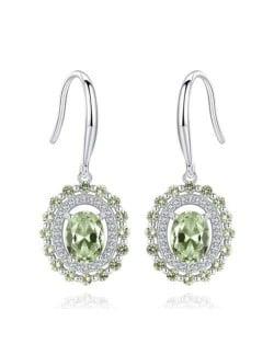 Olive Green Brazilian Stone Inlaid Graceful Design 925 Sterling Silver Women Stud Earrings