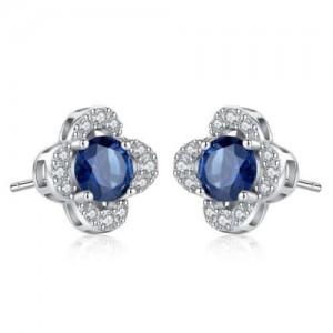 Sapphire Inlaid Elegant Flower Design 925 Sterling Silver Women Stud Earrings