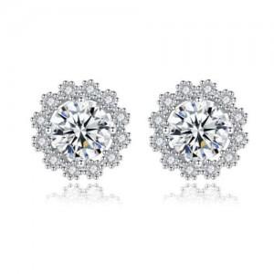 Moissanite Inlaid Snowflake Design 925 Sterling Silver Women Stud Earrings