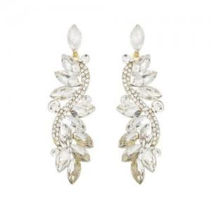 Shining Rhinestone Creative Leaf Inspired Vintage Fashion Women Earrings