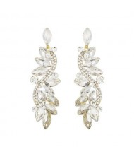 Shining Rhinestone Creative Leaf Inspired Vintage Fashion Women Earrings