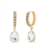 French Style Waterdrop Internet Celebrity Fashion Women Earrings - White