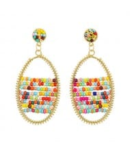 Colorful Beads Inlaid Handmade Bohemian Fashion Oval Shape Women Costume Earrings