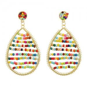 Colorful Beads Inlaid Handmade Bohemian Fashion Waterdrop Women Costume Earrings