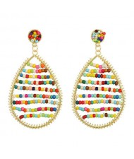 Colorful Beads Inlaid Handmade Bohemian Fashion Waterdrop Women Costume Earrings