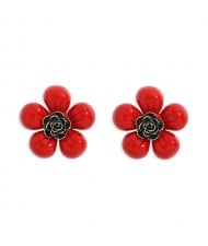 Vintage Style Contrast Colors Tiny Flower Design Women Resin Earrings - Red