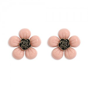 Vintage Style Contrast Colors Tiny Flower Design Women Resin Earrings - Pink