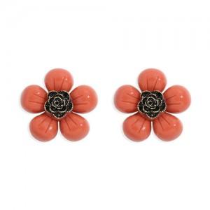 Vintage Style Contrast Colors Tiny Flower Design Women Resin Earrings - Orange