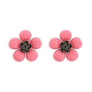 Vintage Style Contrast Colors Tiny Flower Design Women Resin Earrings - Rose