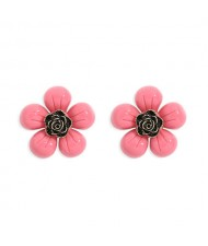 Vintage Style Contrast Colors Tiny Flower Design Women Resin Earrings - Rose