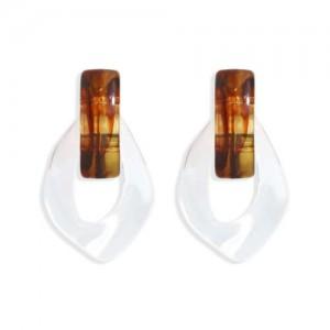 High Fashion Acrylic Geometric Design Women Banquet Earrings - White