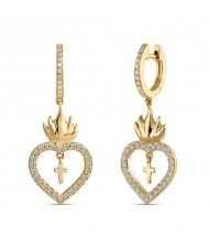 Suspension Cross Inlaid Flaming Heart Design U.S. High Fashion Earrings - Golden