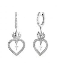 Suspension Cross Inlaid Flaming Heart Design U.S. High Fashion Earrings - Silver