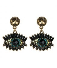 Bold Design High Fashion Eye Style Women Costume Statement Earrings - Champagne