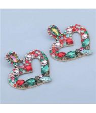 High Fashion Colorful Rhinestone Embellished Heart Women Statement Earrings - Green