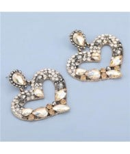 High Fashion Colorful Rhinestone Embellished Heart Women Statement Earrings - Champagne