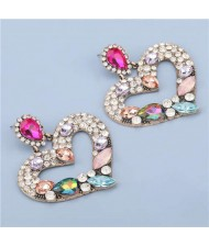 High Fashion Colorful Rhinestone Embellished Heart Women Statement Earrings - Pink