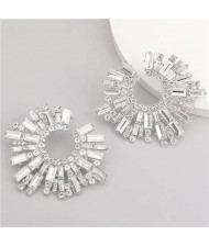 Super Attractive Design Flower High Fashion Women Costume Earrings - Silver