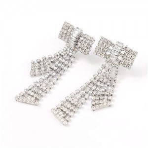 Shining Bowknot Design Korean Fashion Women Banquet Style Earrings