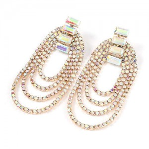 Rhinestone Decorated Chain Tassel U.S.Fashion Banquet Women Earrings - Golden