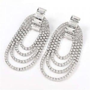 Rhinestone Decorated Chain Tassel U.S.Fashion Banquet Women Earrings - Silver