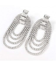 Rhinestone Decorated Chain Tassel U.S.Fashion Banquet Women Earrings - Silver