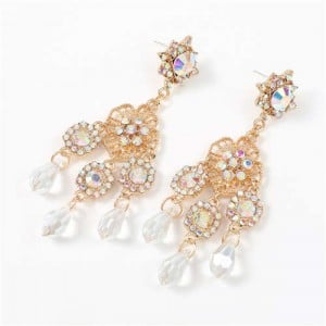 European and U.S. High Fashion Floral Design Acrylic Royal Style Women Earrings - White
