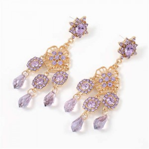 European and U.S. High Fashion Floral Design Acrylic Royal Style Women Earrings - Violet