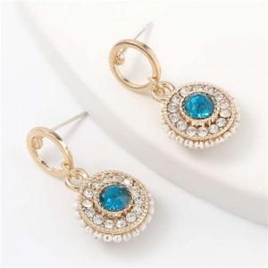 Acrylic Gem Inlaid Bohemian Round Fashion Women Alloy Earrings - Blue