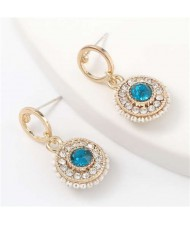 Acrylic Gem Inlaid Bohemian Round Fashion Women Alloy Earrings - Blue