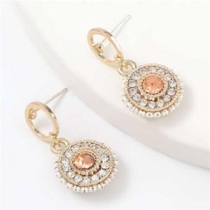 Acrylic Gem Inlaid Bohemian Round Fashion Women Alloy Earrings - Champagne